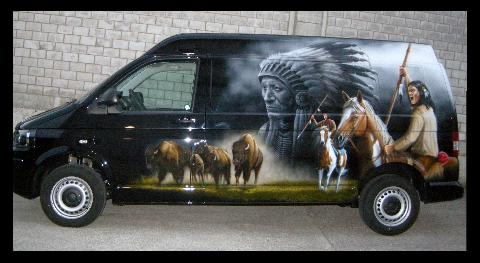 Indianer,Bison,Airbrush,Wild West,
